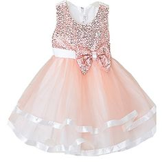 Girls Wedding Dress Bridesmaid Tull Sequined Dress -- Check out the image by visiting the link.