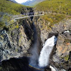 #Droneshot of #gorsabridge and the huge #waterfall with a drop for over 150 meters. They were #bungeejumping there today and i was filming it for the organizer #lyngenfjordbungee. I did try it last year and it is just awesome! Best bungee ever! by beauceron1