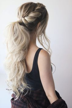 45 Spring Cute Braids Ponytail Hairstyles To Change Your Look ponytails hairstyles to change your look; lovely low ponytail hairstyles to try; elegant ponytails for your special day; Summer Ponytail, Fancy Ponytail, Elegant Ponytail, Prom Hair Updo, Homecoming Hairstyles, Braided Ponytail Hairstyles, Braided Hairstyles, Braid Ponytail, Rope Braid