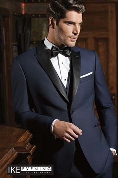In recent years, one of the most emergent trends in men's formal wear has been the popularity of dark blue tuxedos and suits. To answer that growing need, Ike Behar Evening has developed some beautifu Blue Tuxedo Wedding, Wedding Tux, Wedding Speeches, Wedding Venues, Trendy Wedding, Wedding Dresses, Wedding Band, Wedding Reception, Modern Tuxedo
