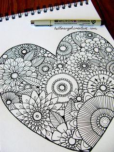 zentangle easy doodle drawings beginners patterns doodles mandala zentangles heart flower result line drawing painting