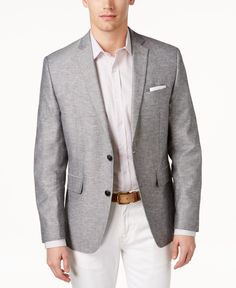 Bar Iii Men's Slim-Fit Double-Face Light Grey Sport Coat, Only at Macy's