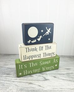 Peter Pan nursery decoration playroom neverland Think of the happiest things baby shower gift Peter Pan wood sign tinkerbell captain hook