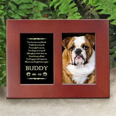 'Golden Memories' Personalized Pet Dog Memorial Picture Frame | EtchedInMyHeart.com | Walnut Brown Finish - $19.95