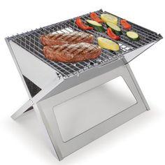 """This is the grill that folds flat for unmatched portability.Less than 1"""" thick when folded, it unfolds to 17 3/4"""" L x 13"""" W x 13"""" H.Ideal for convenient charcoal or hardwood grilling at picnics, beaches, or at home.Made from durable 304 stainless steel.Two triangle-shaped vents and three 1/4"""" vent holes on either panel allow oxygen into the v-shaped charcoal well that collects easily emptied ash; charcoal grate is 4 3/4"""" from the grilling surface.T..."""