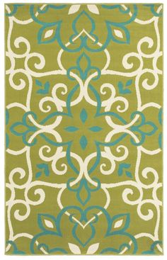 Green & Aqua Rug. Need this coloring to tie in the couch and walls.