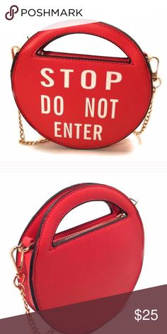 """Fashion clutch """"STOP DO NOT ENTER"""" Red clutch """"stop do not enter"""" definetly an eye-catching! One of a kind design Small size,8 diameter x1.5 D ,zip closure ,faux leather material, removable and adjustable strap. Very fashion and trendy!!! 😍🛑 Bags Clutches & Wristlets"""