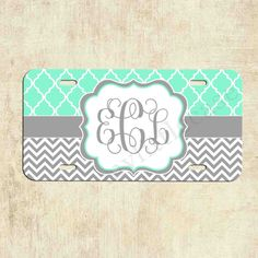 Monogrammed license plate - Mint Lattice Grey Chevron - Personalized License Plate - Car Tag - Front Plate by mylittlecase on Etsy https://www.etsy.com/listing/198474699/monogrammed-license-plate-mint-lattice