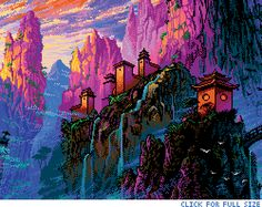 Pixel China Mountains by Retronator  This is a fan art piece based on Marta Naels magnificent painting China Mountains.  See the full-size, animated, parallax image.
