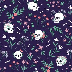 fondos calaveras Colorful fabrics digitally printed by Spoonflower - Skull Floral