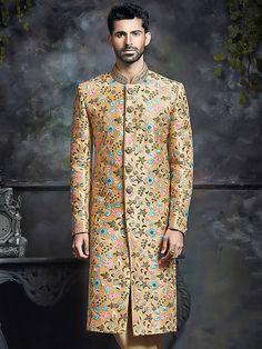 Peach Wedding Wear Silk Sherwani, peach color, wedding, groom, mens fashion, silk, sherwani