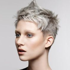 Blue steel/farouk systems step-by-step Edgy Pixie Hairstyles, Short Shaved Hairstyles, Messy Pixie Haircut, Short Pixie Haircuts, Undercut Hairstyles, Short Hairstyles For Women, Chubby Face Haircuts, Pixie Cut With Undercut, Short Punk Hair