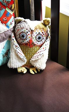 Chenille and flannel owl.