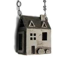 Doll House Necklace - Stainless Steel Jewelry - Pre Colonial House - inspired by dollhouses and miniatures