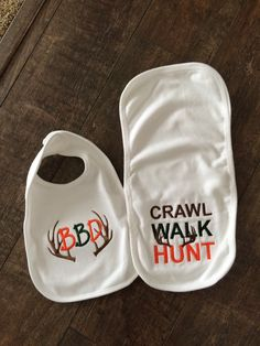 IN STOCK Personalized Bib & Burp Cloth Baby Gift Set  'Crawl, Walk, Hunt'