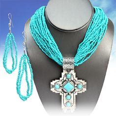 $14.99! Cowgirl Bling CROSS Turquoise Southwest Gypsy Boho Silver tone  Necklace set #nena