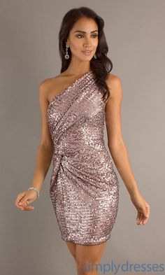 Short One Shoulder Dress, Sequin Cocktail Dress - Simply Dresses