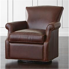 Elyse Leather 360 Swivel Glider