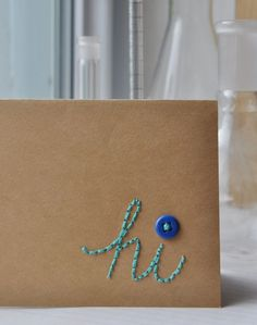 Paper Embroidery Ideas Really easy lesson on how to hand stitch messages onto cards. I will definitely try this! Paper Embroidery, Hand Embroidery Designs, Embroidery Patterns, Embroidery Stitches, Couture Main, Ideias Diy, Blog Deco, Crafty Craft, Crafting
