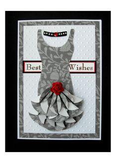 Hand made card using teabag folding (Dahlia fold) and cuttlebug folder swiss dots