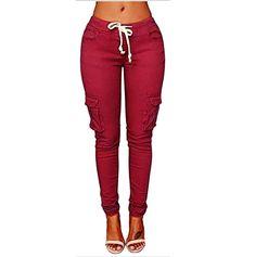3ef59bab9b0 iTLOTL Women Pants Stretch Pencil Trousers High Waist Slim Stretch Elastic  Trousers
