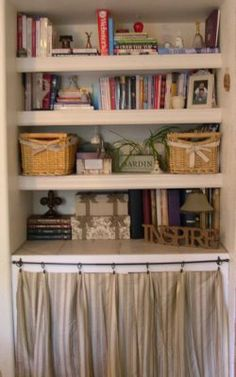 Simply Bay's Place: Cafe Curtain Cover Up Velvet Curtains, Cafe Curtains, Diy Curtains, Classroom Curtains, Classroom Walls, Classroom Ideas, Ikea Bookcase, Bookshelves, A Shelf