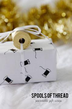Papel de regalo imprimible inspirado en bobinas de hilo // PRINTABLE GIFT WRAP