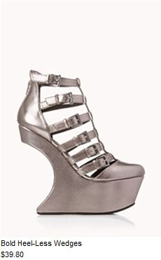 cc3a7891c2c7 I feel unstable just looking at these things. FOREVER 21 Bold Heel-Less  Wedges