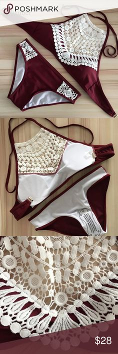 Burgundy Lace Two Piece Swimsuit! This is seriously sooooooo cute! I try to order items for my boutique that I think I would like for myself and I debated just keeping this for myself but I do not need another swimsuit at the moment. It is padded and a size medium. New With Tags. Women's swimwear. Smoke free Swim Bikinis