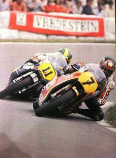 Virginio Ferrari and Barry Sheene at Dutch GP 1979 Motorcycle Racers, Retro Motorcycle, Suzuki Motorcycle, Motorcycle Design, Motorbike Girl, Classic Motorcycle, Old School Motorcycles, Racing Motorcycles, Grand Prix