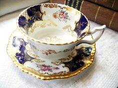 "Exquisite Coalport Panel ~ ""Bat Wing"" Vintage Bone China Teacup(s), Cobalt Blue with Floral Sprays, Heavily Gilt Gold Gadroon Edge, Y2480"