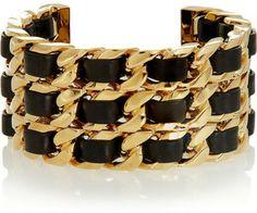 Fendi Gold-tone and leather cuff on shopstyle.com