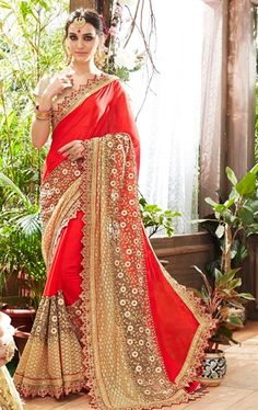 Picture of Excellent Red Party Wear Saree