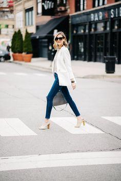 how to wear white blazer