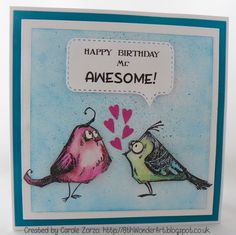 Hello Friends, Thanks for visiting and thank you for your comments on my Birds of Prey mini albu m: a few of you were impressed I had mad. Dog Cards, Bird Cards, Crazy Birthday, Happy Birthday, Crazy Bird, Crazy Cats, Craft Projects, Projects To Try, Tim Holtz