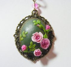 Pink Roses and Buds Pendant    Handmade Jewelry by TheClayFlorist, £24.99