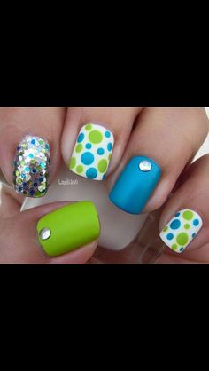 Lime green and teal