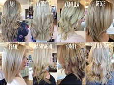 Shades of Blonde- Ash Blonde, Ivory Blonde, Vanilla Blonde, Beige Blonde, Pearl Blonde, Champagne Blonde, Honey Blonde, Platinum Blonde