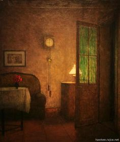 "Jakub Schikaneder, ""Interiér s Hodinami a Fotografií"" (""Interior with Clock and Picture"")"