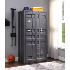 Cargo Wardrobe (Double Door) in Gunmetal - Acme Furniture Cargo Wardrobe is an excellent addition for storage in any bedroom, garage, or even in an off-site storage unit. This functional piece is created from iron metal and includes two front doo Dorm Furniture, Acme Furniture, Metal Furniture, Industrial Furniture, Furniture Design, Furniture Deals, Door Storage, Locker Storage, Gun Storage