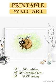 SALE 15% OFF | Cute Honeybee Printable, Honey Bee Decor, Bee Art Download, Animal Wall Art, Pollinate printable, Bee Decor for Home | Perfect to add to your living space or to gift to a honey bee lover, beekeeper or nature lover. Spread bees importance and at the same time, you can have fresh finishing details for your home. Bee Friendly, Bee Art, Bee Theme, Types Of Printer, Digital Form, How To Take Photos, As You Like, Printable Wall Art, Wall Art Prints