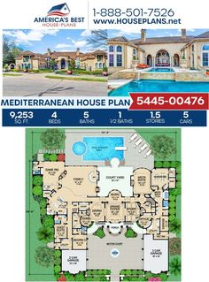 Fall in love with this extravagant Mediterranean design! Plan 5445-00476 is highlighted with 9,253 sq. ft., 4 bedrooms, 5.5 bathrooms, a grand foyer, an exercise room, a media room and a courtyard entry garage. #houseplans #hmesweethome Mediterranean House Plans, Mediterranean Design, Courtyard Entry, Floor Plan Drawing, Stucco Exterior, Grand Foyer, Cost To Build, Construction Cost, Best House Plans