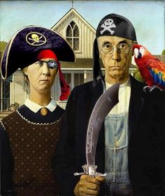 Reinventions Of The American Gothic Painting American Gothic Painting, American Gothic House, Grant Wood American Gothic, American Gothic Parody, American Art, Grant Wood Paintings, Classic Paintings, Art Grants, Thoughts
