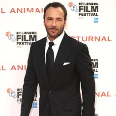 Tom Ford in a TOM FORD black Windsor suit at the London Film Festival premiere of his movie 'Nocturnal Animals'.