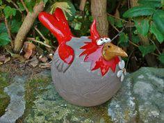 Gartendekoration - Steckvogel XL Zaunhocker Rosenkugel Gartenkeramik - ein Designerstück von Terra-Cottage bei DaWanda
