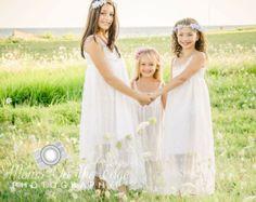 Bohême robe de fille de fleur dentelle Boho & robe de fille