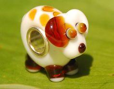 NEW Handmade White poppy Dog Glass Lampwork Animal by MarikoArt, $6.99
