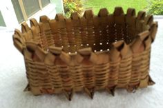 Vintage Square Basket Native American Heritage with Loops and Red Dye Remnants Near Mint Condition Circa 1930's