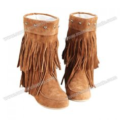 Wholesale Causal Women's Boots With Tassels and Studs Design (BROWN,39), Boots - Rosewholesale.com