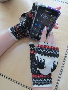 """Convertible flip-top mittens, made from an old sweater. (Click pic, click next pic, then  at We All Sew, click on red, underlined, """"Convertible Mittens by Stacy,"""" to go to TUTORIAL & PATTERN."""